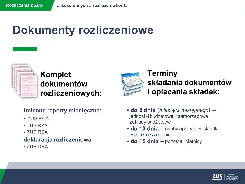 Dokumenty rozliczeniowe Rozliczenia z ZUS Jakość danych a rozliczenie konta imienne raporty miesięczne: ZUS RCA ZUS RZA ZUS RSA deklaracja rozliczeniowa ZUS DRA do 5 dnia ( miesiąca następnego ) – jednostki budżetowe i samorządowe zakłady budżetowe do 10 dnia – osoby opłacające składki wyłącznie za siebie do 15 dnia – pozostali płatnicy Komplet dokumentów rozliczeniowych: Terminy składania dokumentów i opłacania składek: