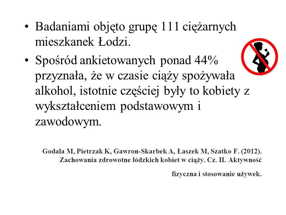 Badaniami objęto grupę 111 ciężarnych mieszkanek Łodzi.
