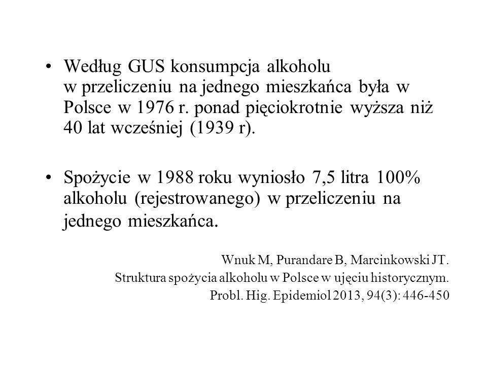 Według GUS konsumpcja alkoholu w przeliczeniu na jednego mieszkańca była w Polsce w 1976 r.