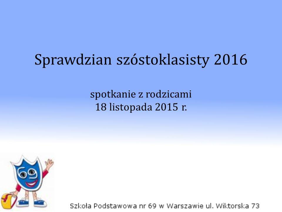 Sprawdzian szóstoklasisty 2016 spotkanie z rodzicami 18 listopada 2015 r.