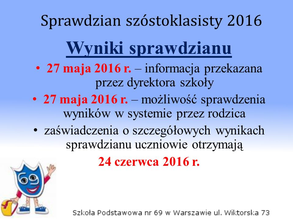 Wyniki sprawdzianu 27 maja 2016 r. – informacja przekazana przez dyrektora szkoły 27 maja 2016 r. – możliwość sprawdzenia wyników w systemie przez rod