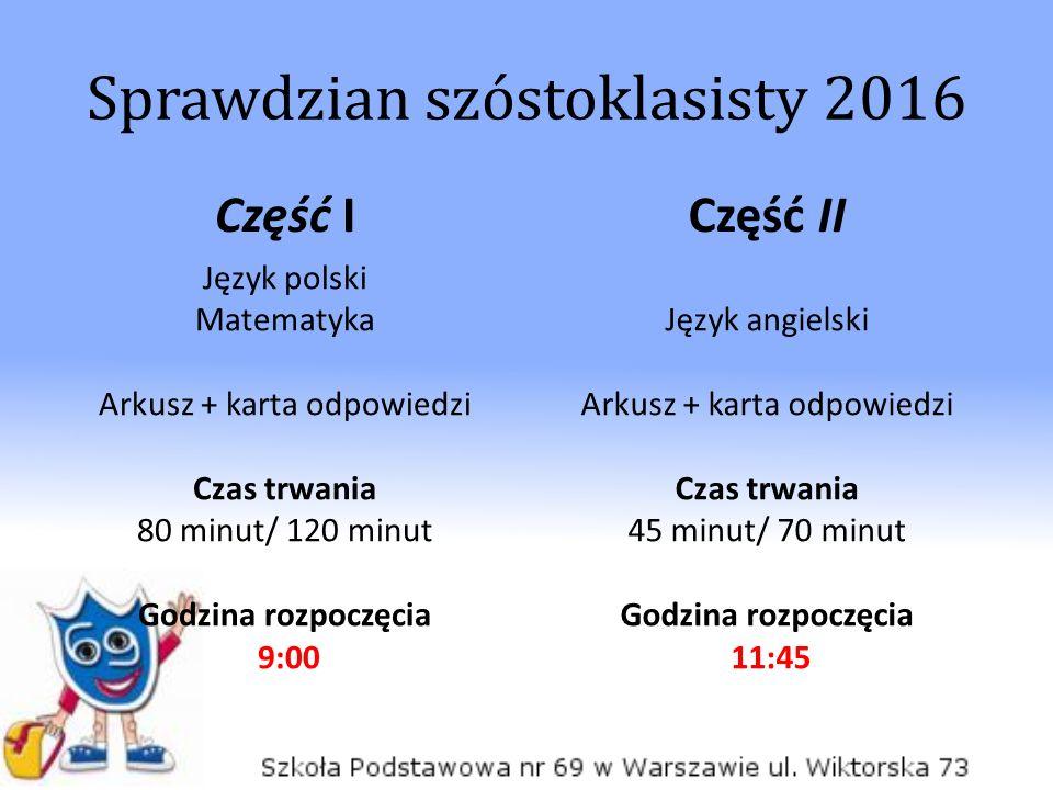 Część I Język polski Matematyka Arkusz + karta odpowiedzi Czas trwania 80 minut/ 120 minut Godzina rozpoczęcia 9:00 Część II Język angielski Arkusz +