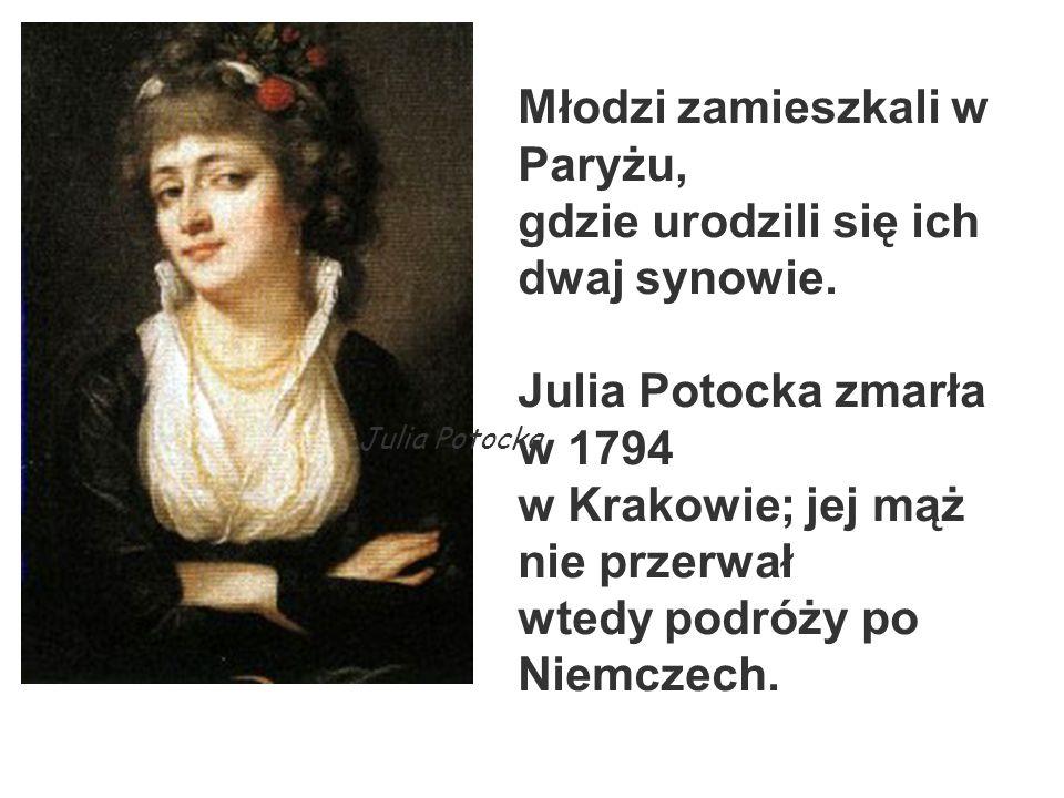 Młodzi zamieszkali w Paryżu, gdzie urodzili się ich dwaj synowie. Julia Potocka zmarła w 1794 w Krakowie; jej mąż nie przerwał wtedy podróży po Niemcz