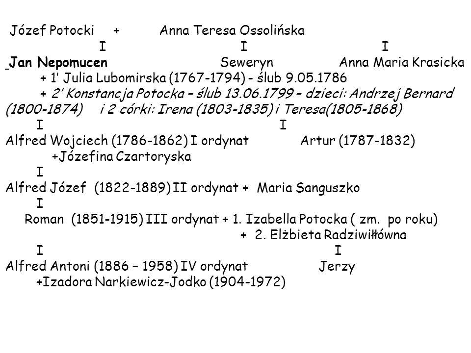 Józef Potocki + Anna Teresa Ossolińska I I I Jan Nepomucen Seweryn Anna Maria Krasicka + 1' Julia Lubomirska (1767-1794) - ślub 9.05.1786 + 2' Konstan