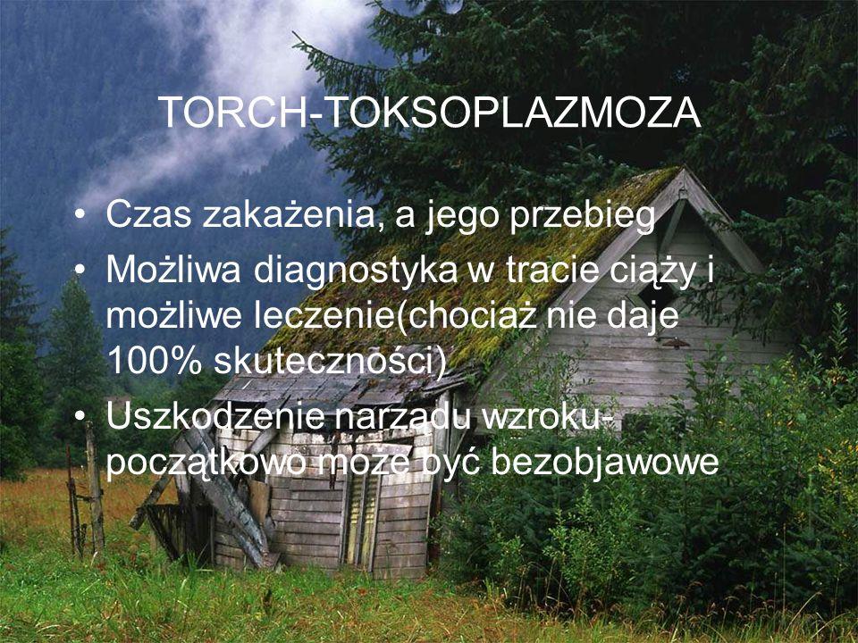 TORCH-TOKSOPLAZMOZA Czas zakażenia, a jego przebieg Możliwa diagnostyka w tracie ciąży i możliwe leczenie(chociaż nie daje 100% skuteczności) Uszkodze