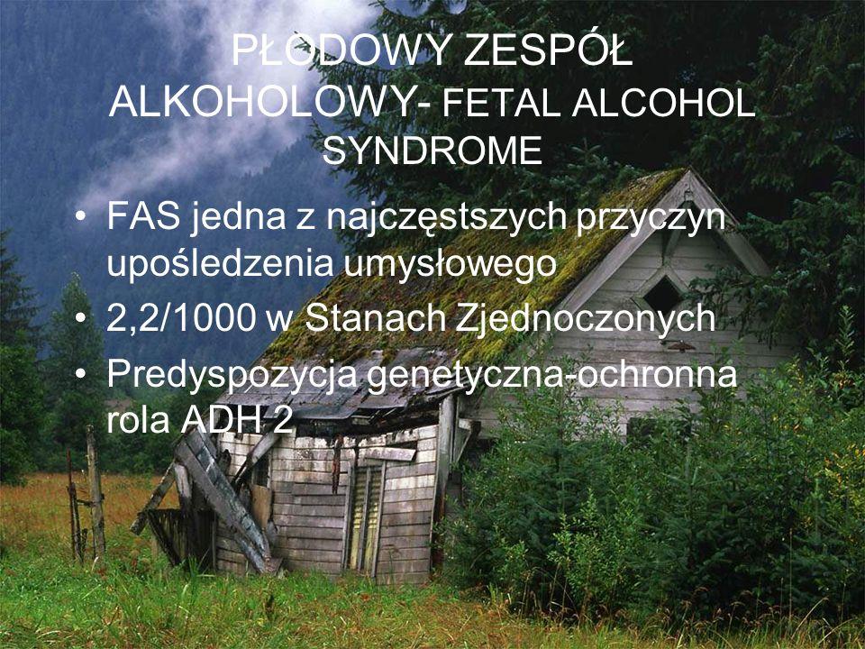 PŁODOWY ZESPÓŁ ALKOHOLOWY- FETAL ALCOHOL SYNDROME FAS jedna z najczęstszych przyczyn upośledzenia umysłowego 2,2/1000 w Stanach Zjednoczonych Predyspo