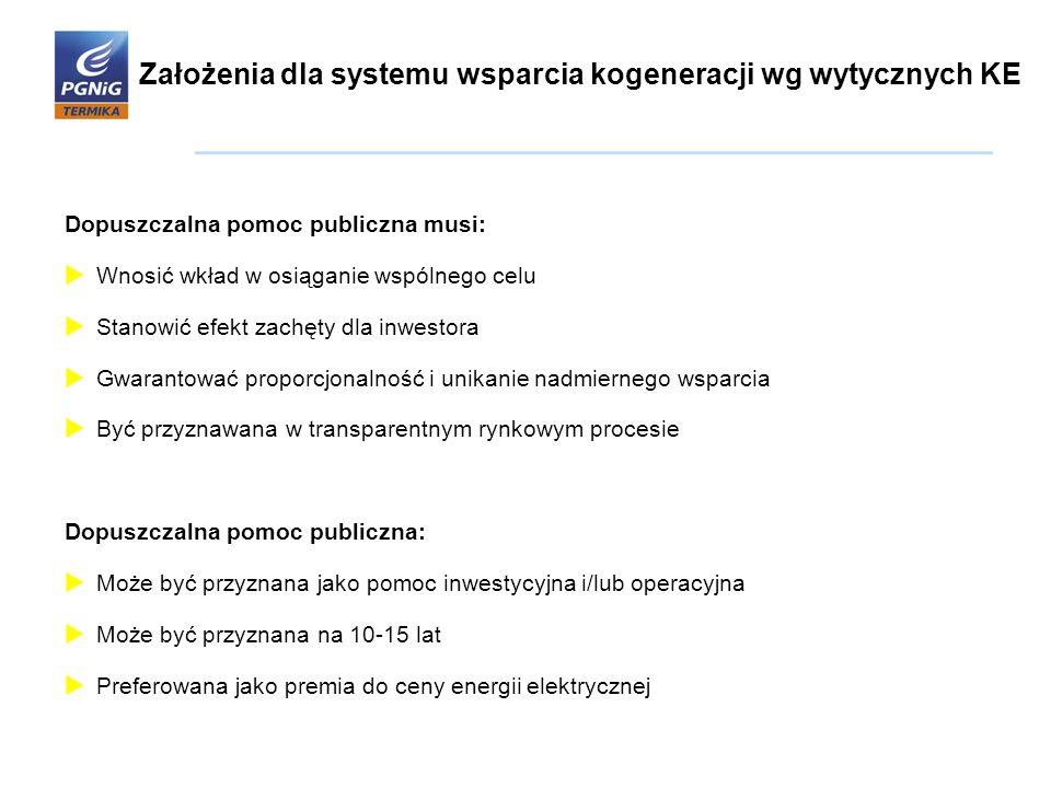 Założenia dla systemu wsparcia kogeneracji wg wytycznych KE Dopuszczalna pomoc publiczna musi:  Wnosić wkład w osiąganie wspólnego celu  Stanowić ef