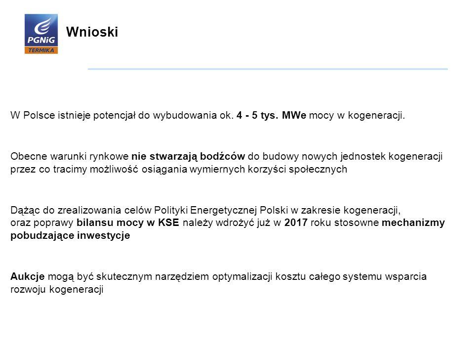 W Polsce istnieje potencjał do wybudowania ok. 4 - 5 tys. MWe mocy w kogeneracji. Obecne warunki rynkowe nie stwarzają bodźców do budowy nowych jednos