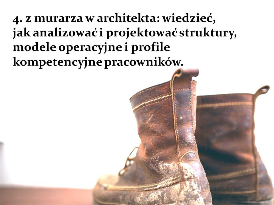 4. z murarza w architekta: wiedzieć, jak analizować i projektować struktury, modele operacyjne i profile kompetencyjne pracowników.