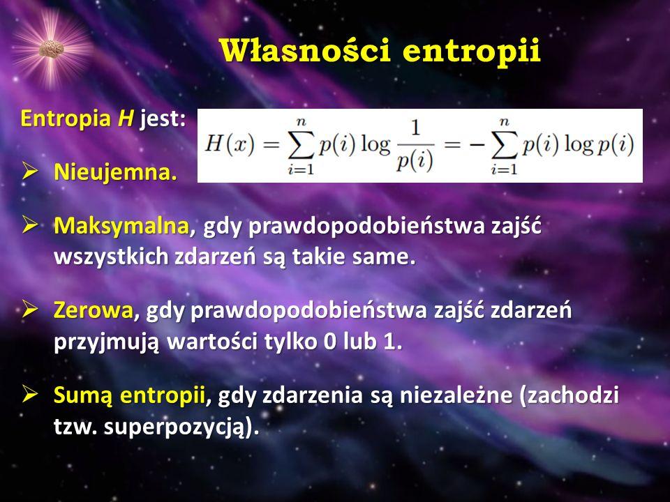 Własności entropii Entropia H jest:  Nieujemna.
