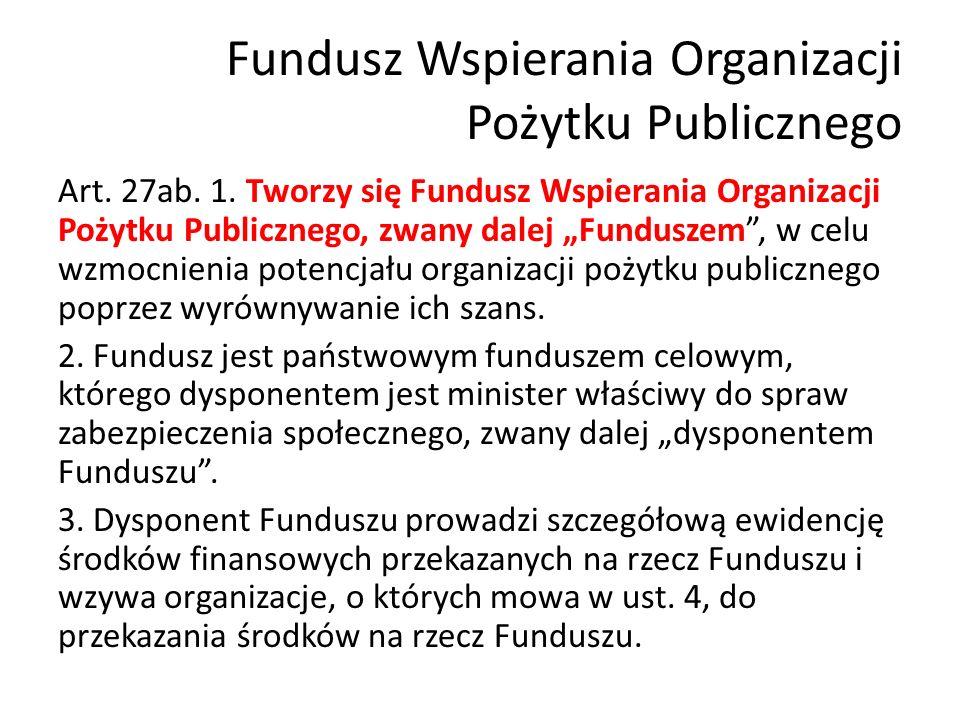 Fundusz Wspierania Organizacji Pożytku Publicznego Art.