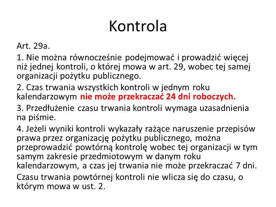 Kontrola Art. 29a. 1.