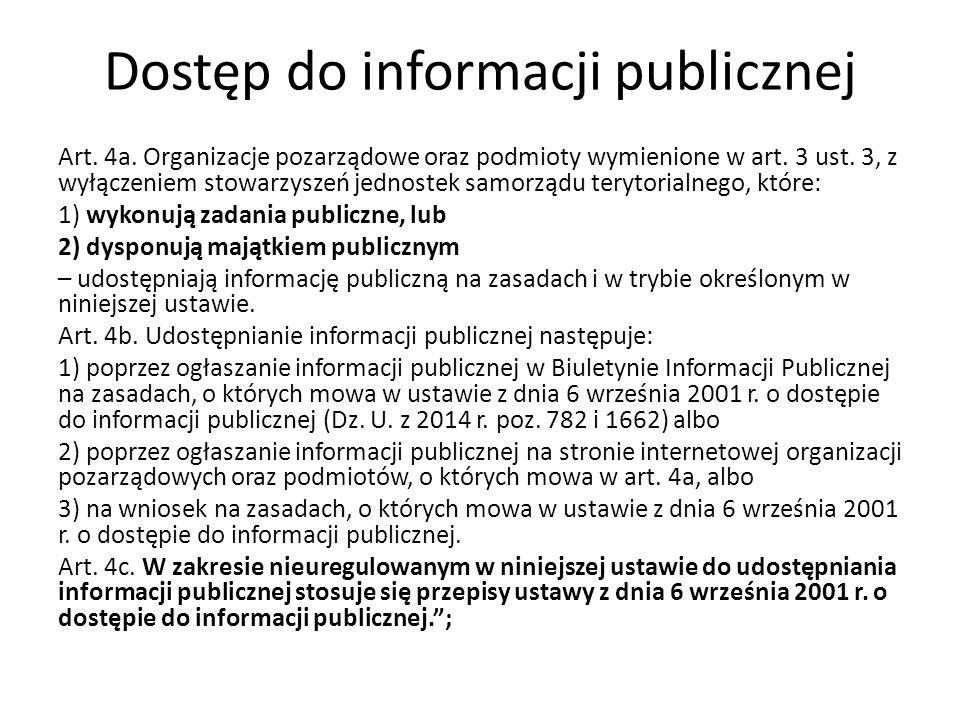 Dostęp do informacji publicznej Art. 4a. Organizacje pozarządowe oraz podmioty wymienione w art.