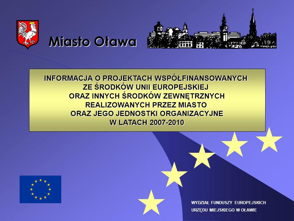 Miasto Oława INFORMACJA O PROJEKTACH WSPÓŁFINANSOWANYCH ZE ŚRODKÓW UNII EUROPEJSKIEJ ORAZ INNYCH ŚRODKÓW ZEWNĘTRZNYCH REALIZOWANYCH PRZEZ MIASTO ORAZ JEGO JEDNOSTKI ORGANIZACYJNE W LATACH 2007-2010 WYDZIAŁ FUNDUSZY EUROPEJSKICH URZĘDU MIEJSKIEGO W OŁAWIE