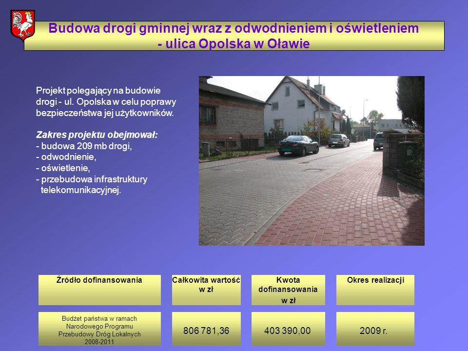Źródło dofinansowaniaCałkowita wartość w zł Kwota dofinansowania w zł Okres realizacji Budowa drogi gminnej wraz z odwodnieniem i oświetleniem - ulica Opolska w Oławie Projekt polegający na budowie drogi - ul.