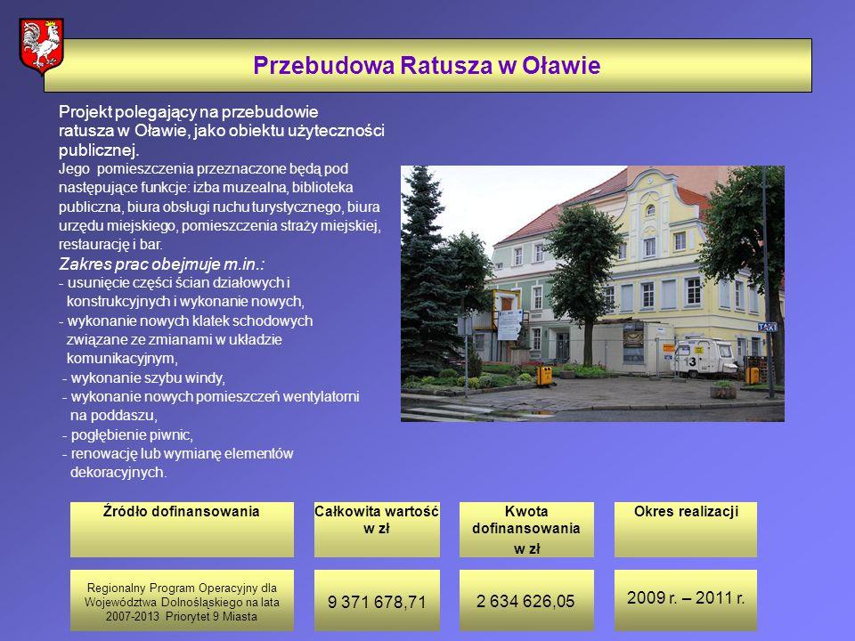 Źródło dofinansowaniaCałkowita wartość w zł Kwota dofinansowania w zł Okres realizacji Przebudowa Ratusza w Oławie Projekt polegający na przebudowie ratusza w Oławie, jako obiektu użyteczności publicznej.