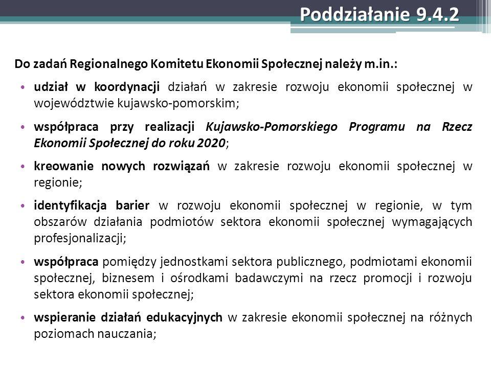 Poddziałanie 9.4.2 Do zadań Regionalnego Komitetu Ekonomii Społecznej należy m.in.: udział w koordynacji działań w zakresie rozwoju ekonomii społeczne