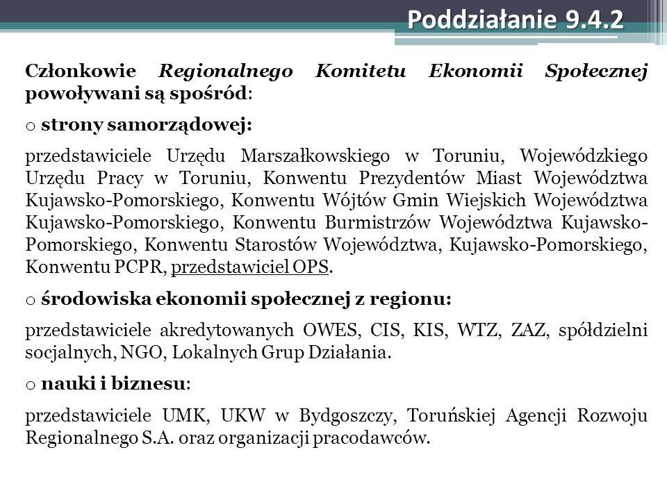 Poddziałanie 9.4.2 Członkowie Regionalnego Komitetu Ekonomii Społecznej powoływani są spośród: o strony samorządowej: przedstawiciele Urzędu Marszałko