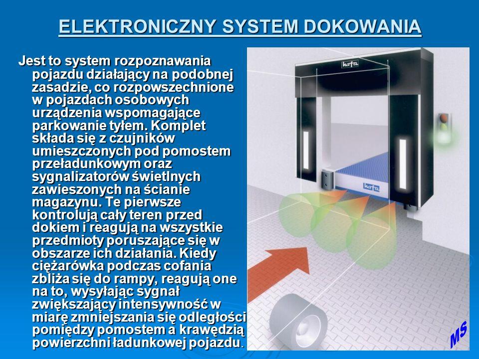 ELEKTRONICZNY SYSTEM DOKOWANIA Jest to system rozpoznawania pojazdu działający na podobnej zasadzie, co rozpowszechnione w pojazdach osobowych urządzenia wspomagające parkowanie tyłem.
