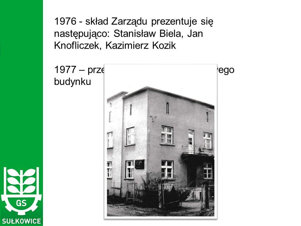 1976 - skład Zarządu prezentuje się następująco: Stanisław Biela, Jan Knofliczek, Kazimierz Kozik 1977 – przeniesienie biur GS do nowego budynku