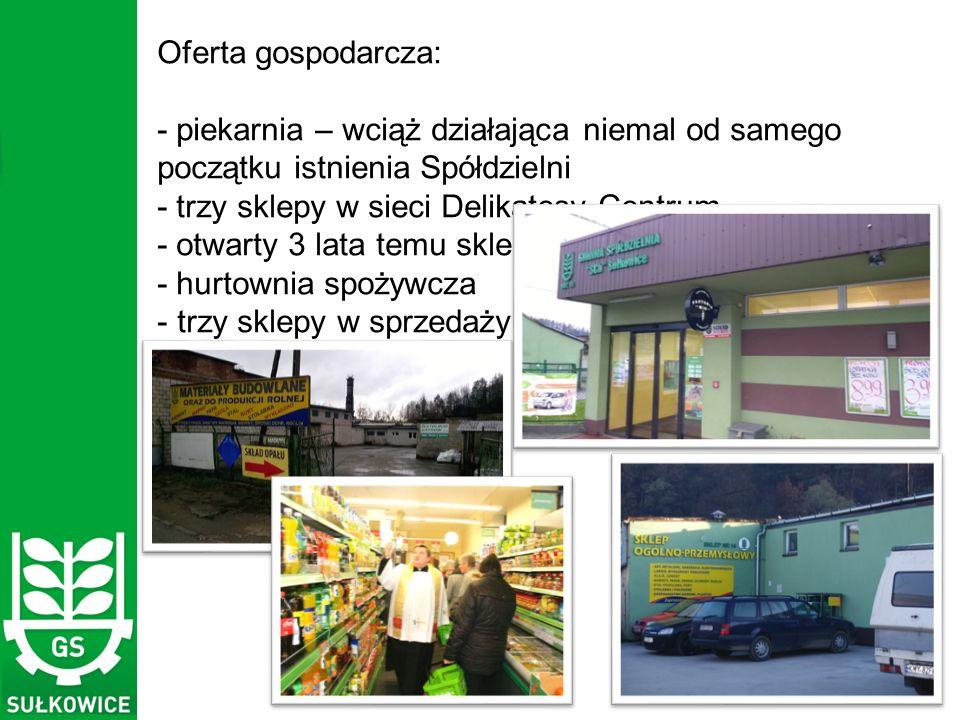 Oferta gospodarcza: - piekarnia – wciąż działająca niemal od samego początku istnienia Spółdzielni - trzy sklepy w sieci Delikatesy Centrum - otwarty 3 lata temu sklep żelazny - hurtownia spożywcza - trzy sklepy w sprzedaży tradycyjnej - a zatrudnionych jest 69 osób