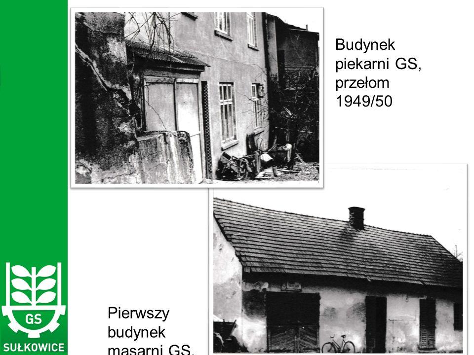 Budynek piekarni GS, przełom 1949/50 Pierwszy budynek masarni GS, 1950