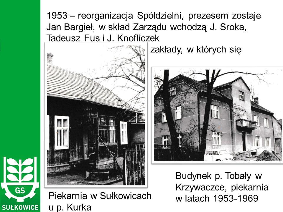 1953 – reorganizacja Spółdzielni, prezesem zostaje Jan Bargieł, w skład Zarządu wchodzą J.