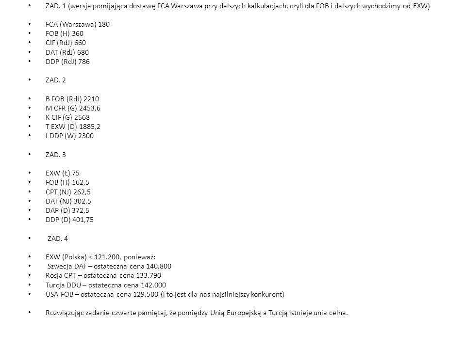 ZAD. 1 (wersja pomijająca dostawę FCA Warszawa przy dalszych kalkulacjach, czyli dla FOB i dalszych wychodzimy od EXW) FCA (Warszawa) 180 FOB (H) 360