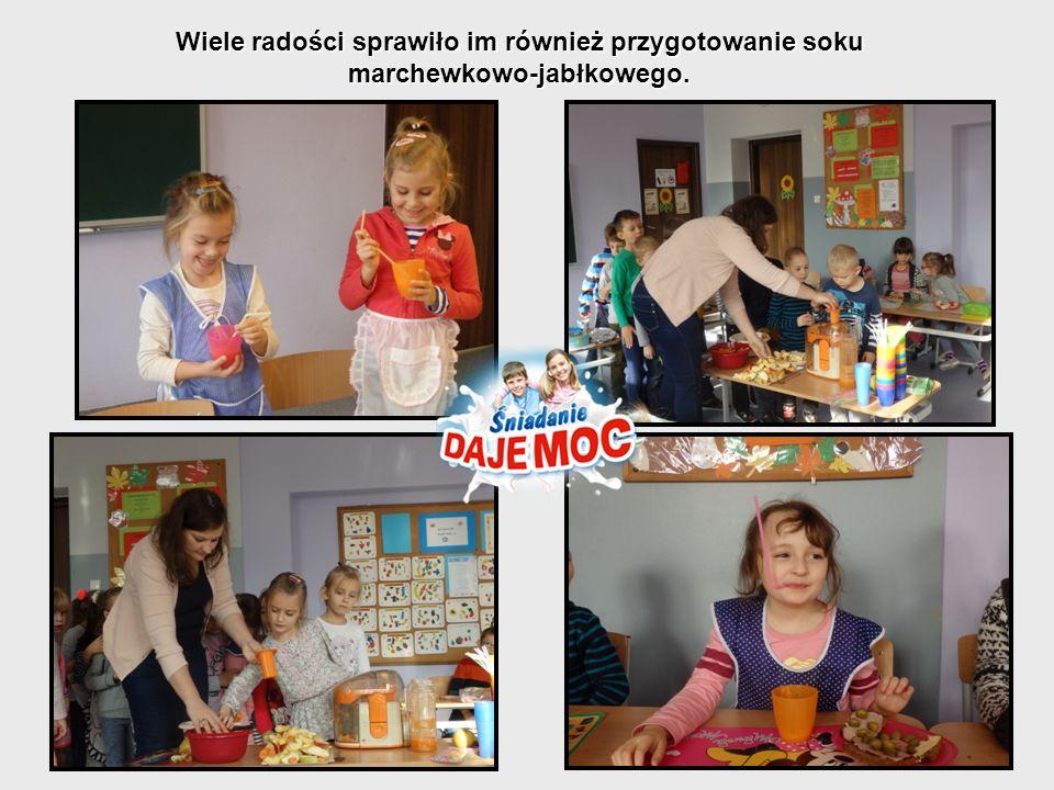 Wiele radości sprawiło im również przygotowanie soku marchewkowo-jabłkowego.