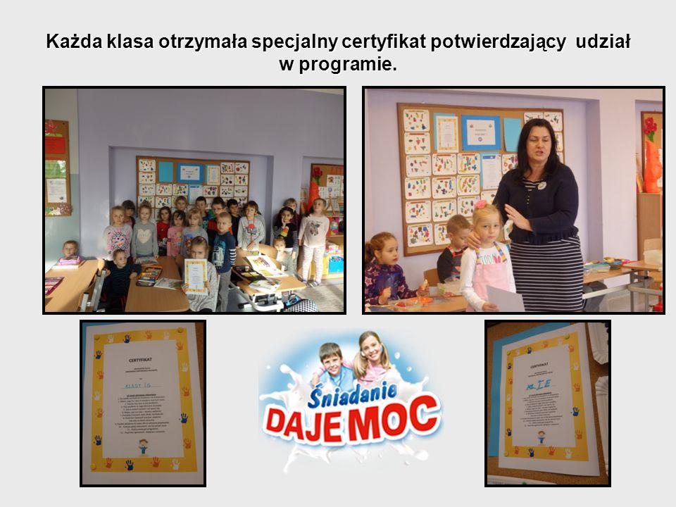 Każda klasa otrzymała specjalny certyfikat potwierdzający udział w programie.