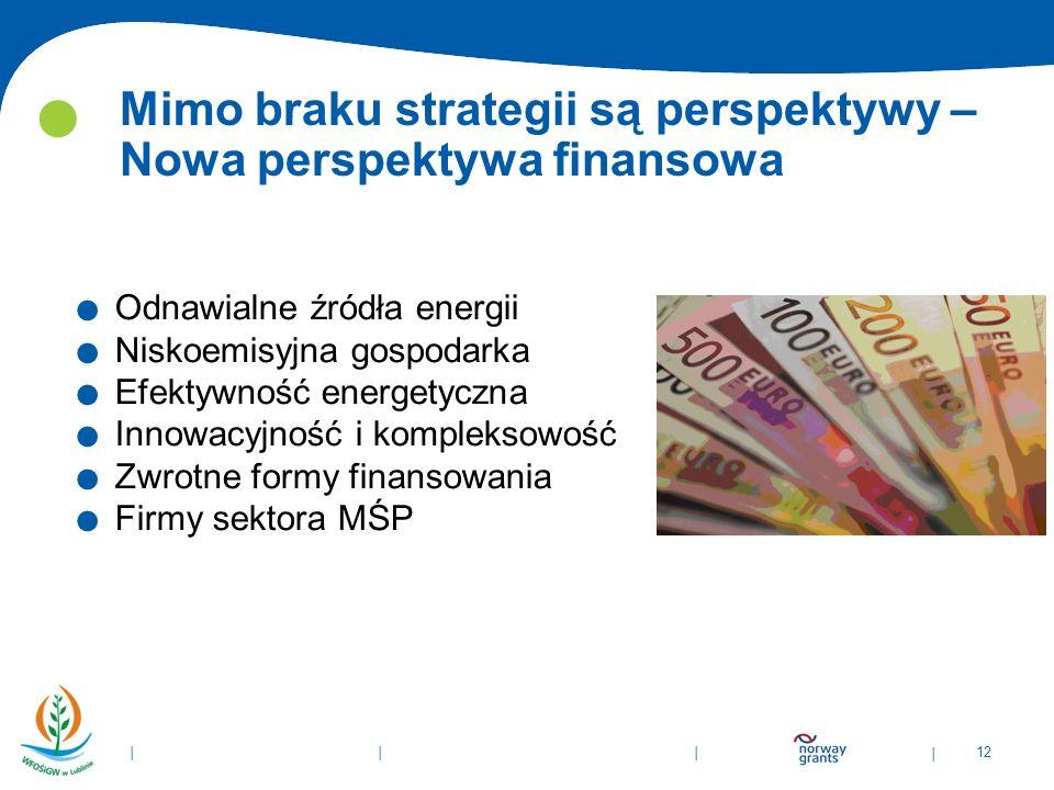 | 12 | | | Mimo braku strategii są perspektywy – Nowa perspektywa finansowa. Odnawialne źródła energii. Niskoemisyjna gospodarka. Efektywność energety