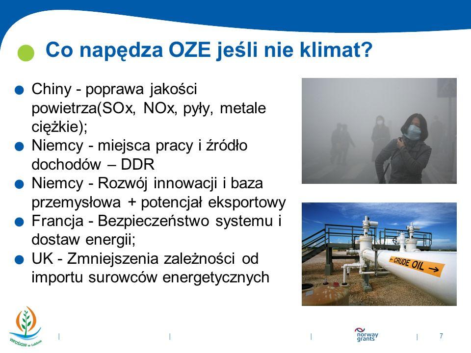 | 7 | | | Co napędza OZE jeśli nie klimat?. Chiny - poprawa jakości powietrza(SOx, NOx, pyły, metale ciężkie);. Niemcy - miejsca pracy i źródło dochod