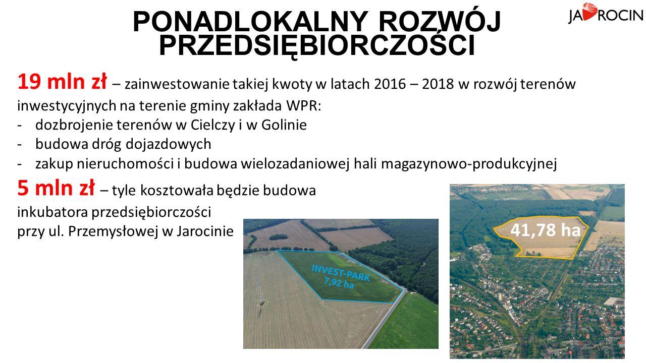 PONADLOKALNY ROZWÓJ PRZEDSIĘBIORCZOŚCI 19 mln zł – zainwestowanie takiej kwoty w latach 2016 – 2018 w rozwój terenów inwestycyjnych na terenie gminy zakłada WPR: -dozbrojenie terenów w Cielczy i w Golinie -budowa dróg dojazdowych -zakup nieruchomości i budowa wielozadaniowej hali magazynowo-produkcyjnej 5 mln zł – tyle kosztowała będzie budowa inkubatora przedsiębiorczości przy ul.