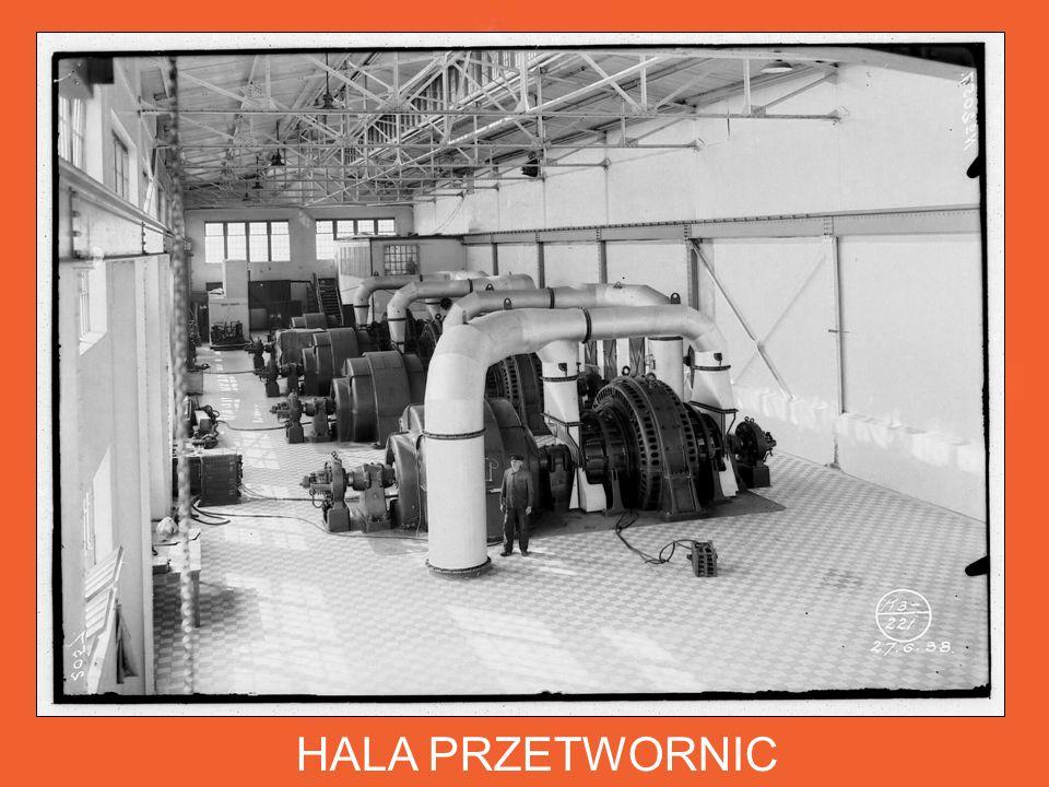 HALA PRZETWORNIC Do procesu elektrolitycznej rafinacji cynku potrzebne było uruchomienie własnych przetwornic (generatorów prądu stałego).
