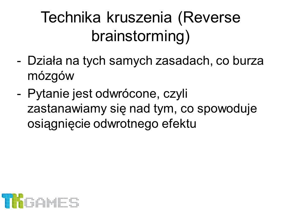 Technika kruszenia (Reverse brainstorming) -Działa na tych samych zasadach, co burza mózgów -Pytanie jest odwrócone, czyli zastanawiamy się nad tym, c