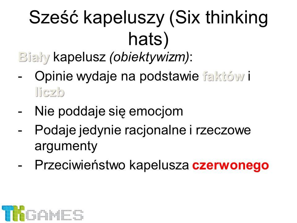 Sześć kapeluszy (Six thinking hats) Biały Biały kapelusz (obiektywizm): faktów liczb -Opinie wydaje na podstawie faktów i liczb -Nie poddaje się emocj
