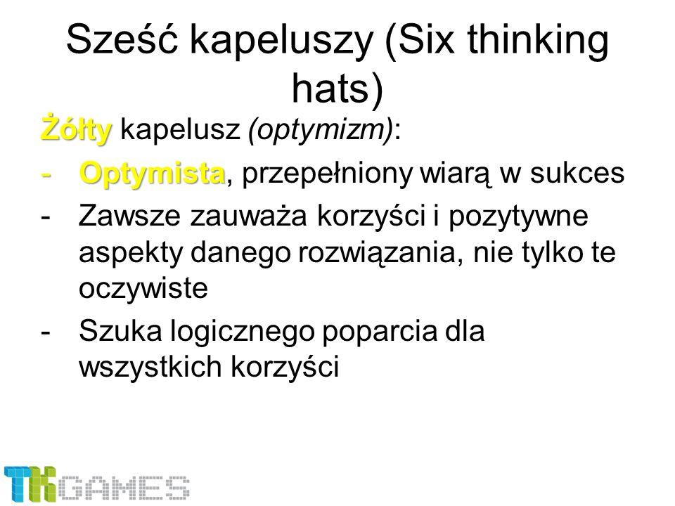 Sześć kapeluszy (Six thinking hats) Żółty Żółty kapelusz (optymizm): -Optymista -Optymista, przepełniony wiarą w sukces -Zawsze zauważa korzyści i poz