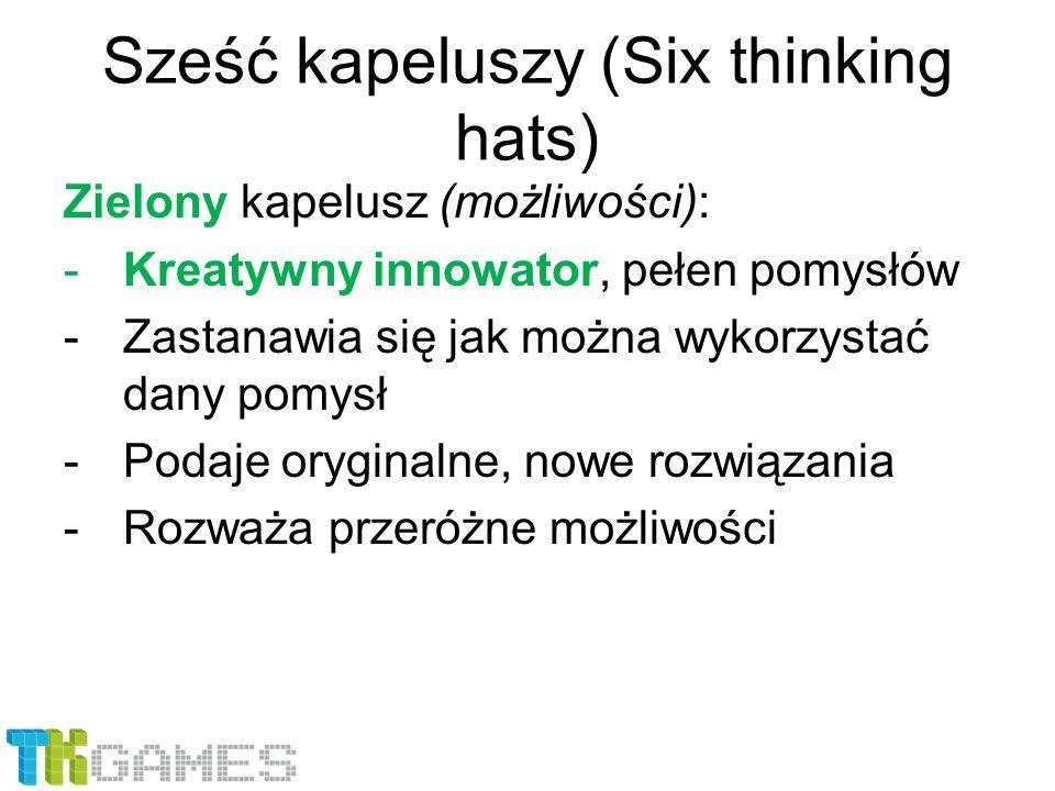 Sześć kapeluszy (Six thinking hats) Zielony kapelusz (możliwości): -Kreatywny innowator, pełen pomysłów -Zastanawia się jak można wykorzystać dany pom