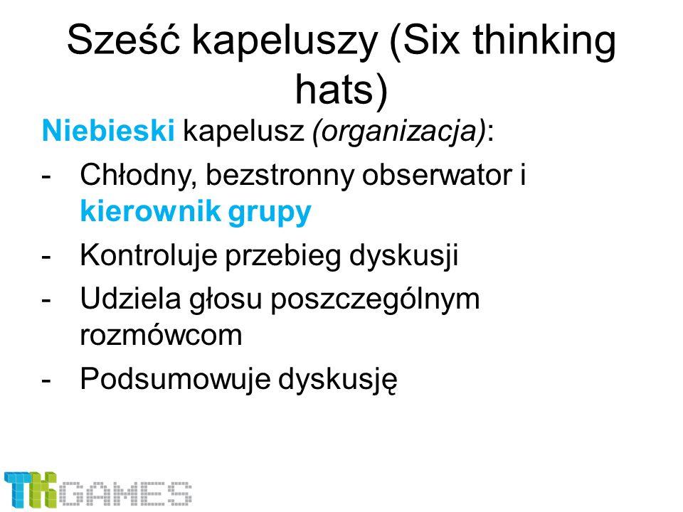 Sześć kapeluszy (Six thinking hats) Niebieski kapelusz (organizacja): -Chłodny, bezstronny obserwator i kierownik grupy -Kontroluje przebieg dyskusji