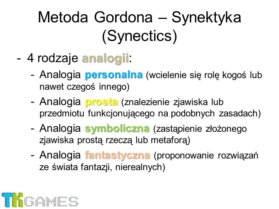Metoda Gordona – Synektyka (Synectics) analogii -4 rodzaje analogii: personalna -Analogia personalna (wcielenie się rolę kogoś lub nawet czegoś innego