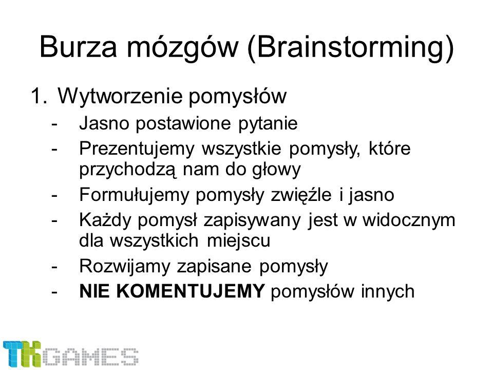 Burza mózgów (Brainstorming) 1.Wytworzenie pomysłów -Jasno postawione pytanie -Prezentujemy wszystkie pomysły, które przychodzą nam do głowy -Formułuj