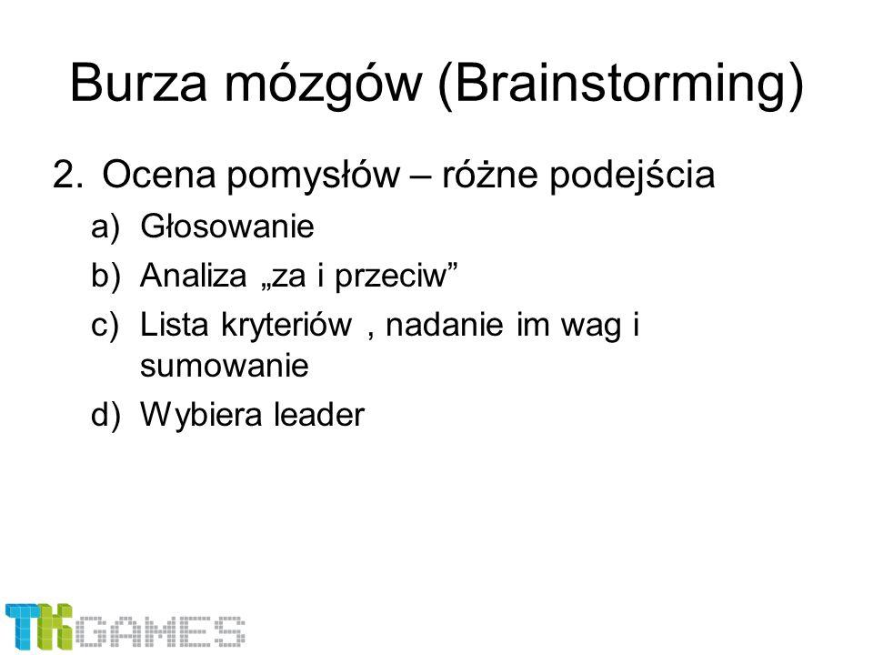 """Burza mózgów (Brainstorming) 2.Ocena pomysłów – różne podejścia a)Głosowanie b)Analiza """"za i przeciw"""" c)Lista kryteriów, nadanie im wag i sumowanie d)"""