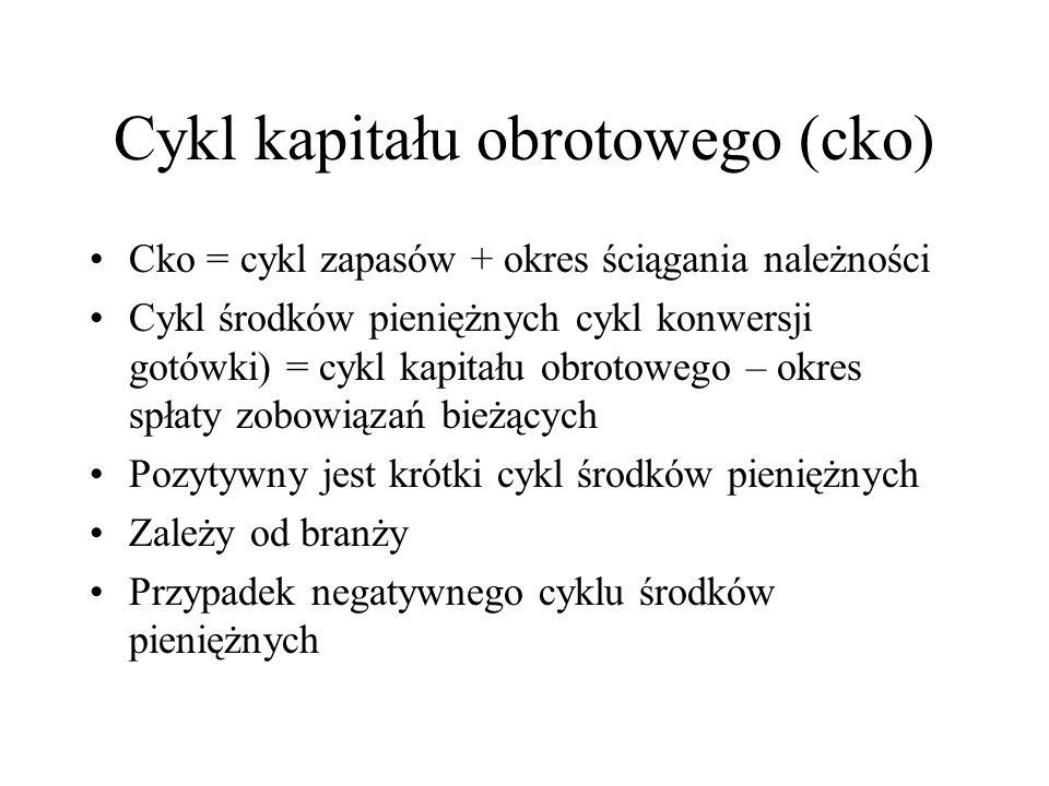 Kapitał obrotowy (cd.2) Zobowiązania (pasywa ) bieżące = rezerwy krótkoterm. + zobowiązania krótkoterm. pomniejszone o ww. zobowiązania (powyżej 12 mi