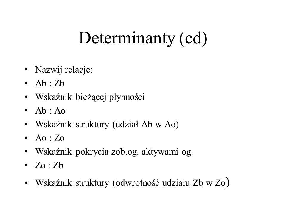 Determinanty płynności finansowej (model) Ab : Zb = Ab : Ao * Ao : Zo * Zo : Zb Ab – aktywa bieżące Ao - aktywa ogółem Zb – zobowiązania bieżące Zo -