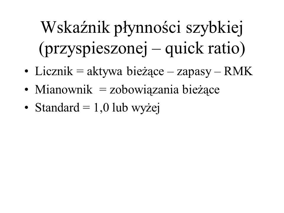 Wskaźnik płynności szybkiej (przyspieszonej – quick ratio) Licznik = aktywa bieżące – zapasy – RMK Mianownik = zobowiązania bieżące Standard = 1,0 lub wyżej
