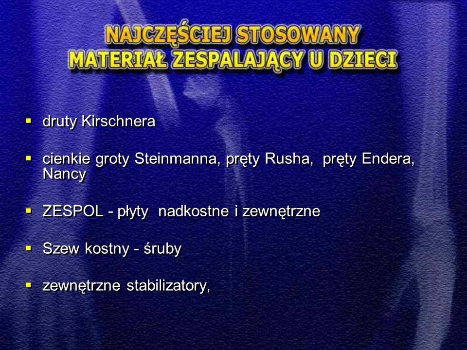  druty Kirschnera  cienkie groty Steinmanna, pręty Rusha, pręty Endera, Nancy  ZESPOL - płyty nadkostne i zewnętrzne  Szew kostny - śruby  zewnęt