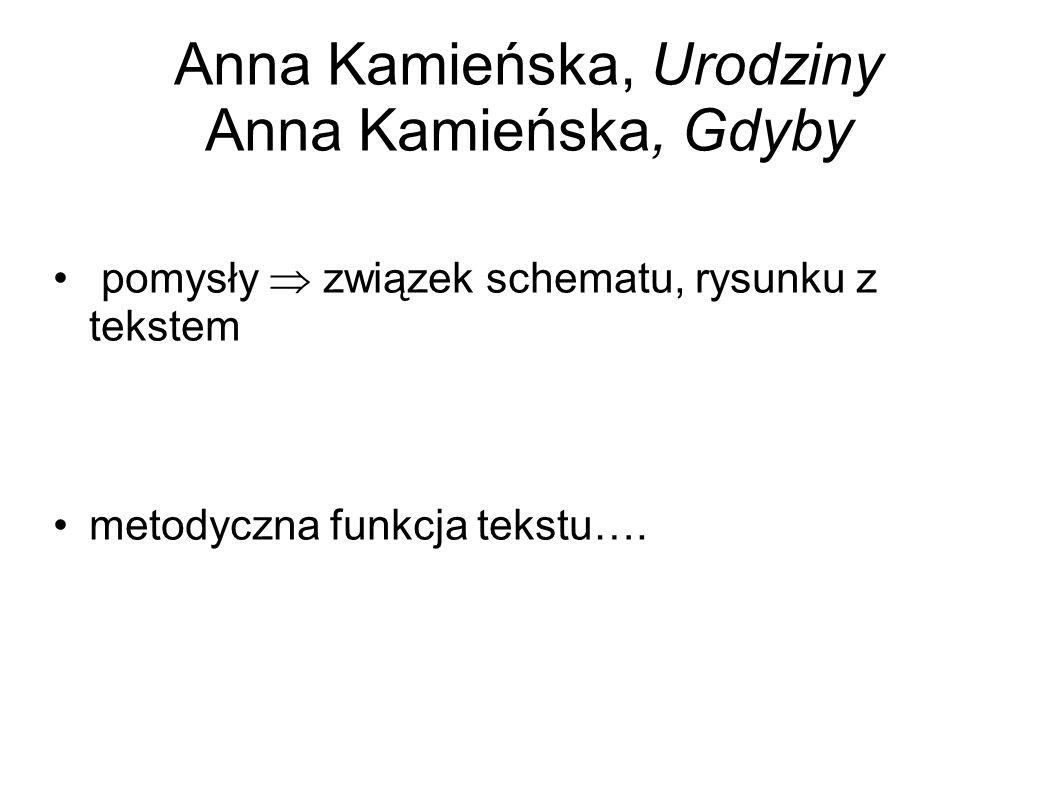 Anna Kamieńska, Urodziny Anna Kamieńska, Gdyby pomysły  związek schematu, rysunku z tekstem metodyczna funkcja tekstu….