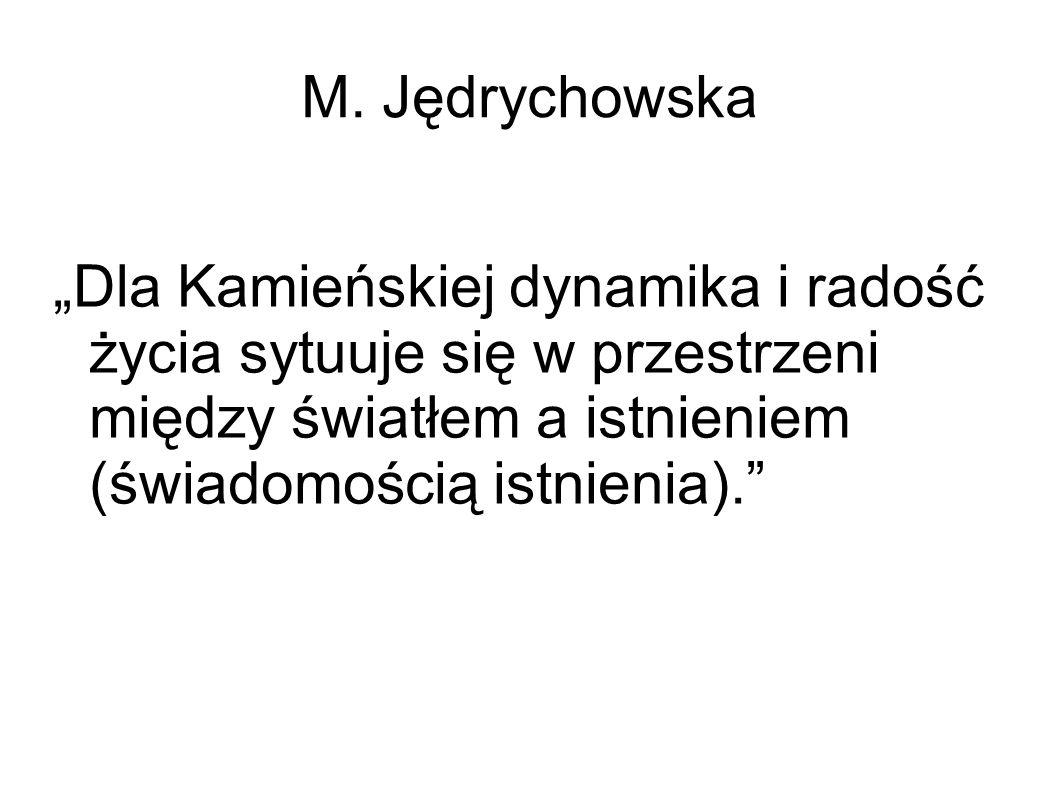 """M. Jędrychowska """"Dla Kamieńskiej dynamika i radość życia sytuuje się w przestrzeni między światłem a istnieniem (świadomością istnienia)."""""""