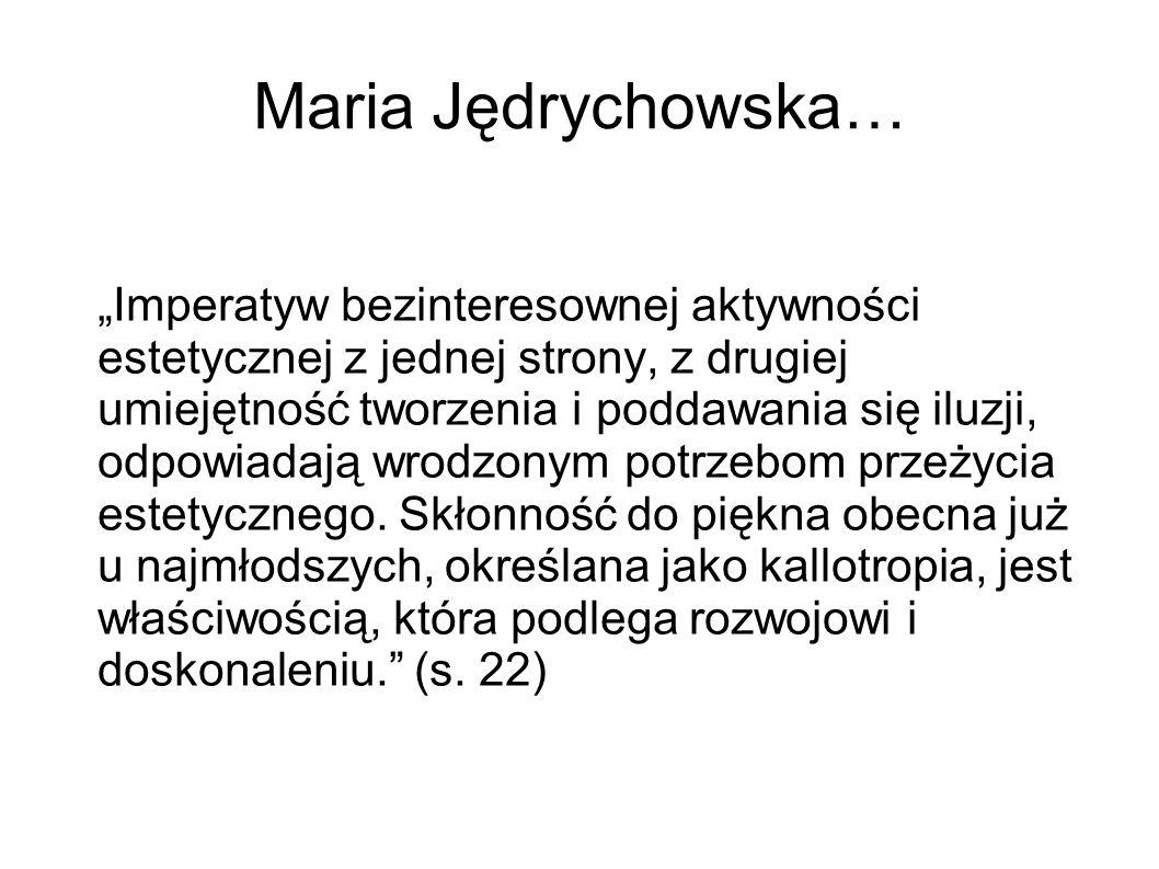 """Maria Jędrychowska… """"Imperatyw bezinteresownej aktywności estetycznej z jednej strony, z drugiej umiejętność tworzenia i poddawania się iluzji, odpowi"""