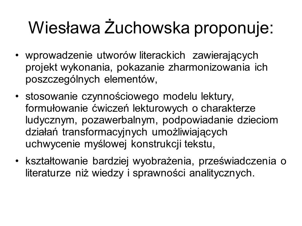 Wiesława Żuchowska proponuje: wprowadzenie utworów literackich zawierających projekt wykonania, pokazanie zharmonizowania ich poszczególnych elementów